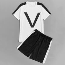 Men Contrast Panel Letter Graphic Tee & Shorts