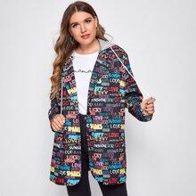 Mantel mit Buchstaben Grafik und Kapuze