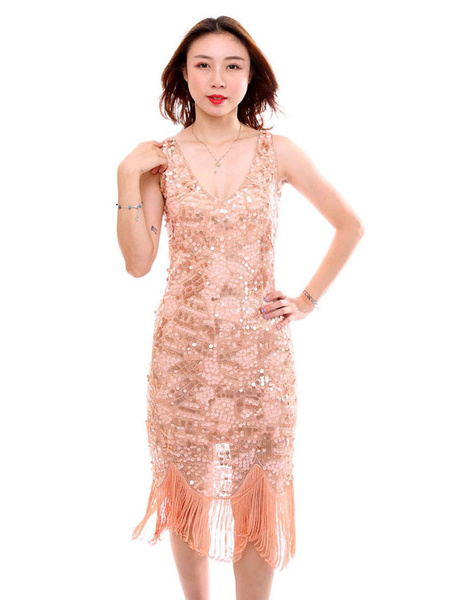 Milanoo Women Flapper Dress Sequin Fringe 1920s Fashion Style Outfits Great Gatsby Costume Retro 20s party Dress