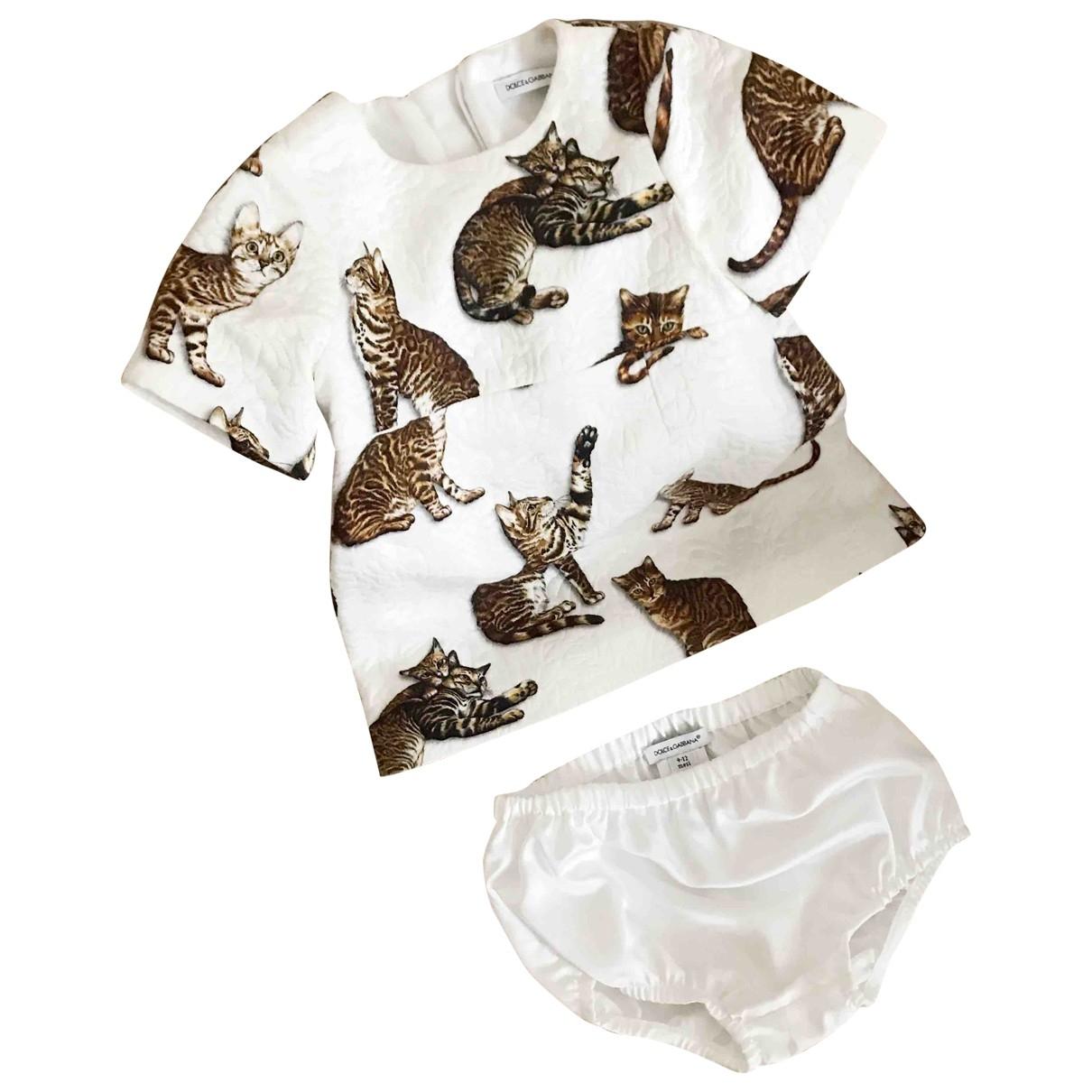 Dolce & Gabbana - Robe    pour enfant en coton - elasthane - blanc