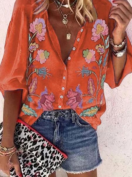 Milanoo Blouse For Women Purple Turndown Collar Half Sleeves Printed Casual Shirt