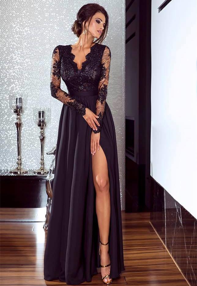 Abendkleid Schwarz Lang Spitze | Abendkleider Mit armel