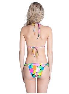 Zebra Striped Floral Two-piece Halter Bikini Set