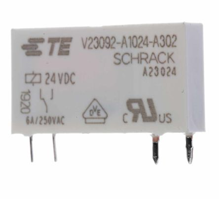 TE Connectivity , 24V dc Coil Non-Latching Relay SPNO, 6A Switching Current PCB Mount Single Pole (20)