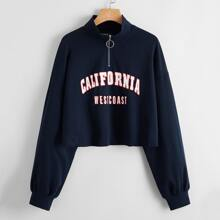 Letter Graphic Zipper Half Placket Pullover