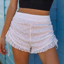 Drawstring Side Ruffle Hem Lace Shorts
