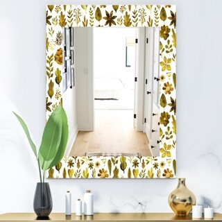 Designart 'Watercolor Texture With Flowers and Plants' Modern Mirror - Vanity Mirror (29.5 in. wide x 39.4 in. high)