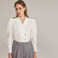 Notch Collar Ruched Leg-of-mutton Sleeve Double Button Blouse