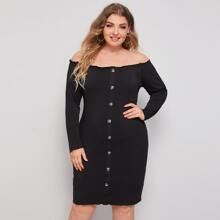 Plus Solid Button Detail Bardot Dress