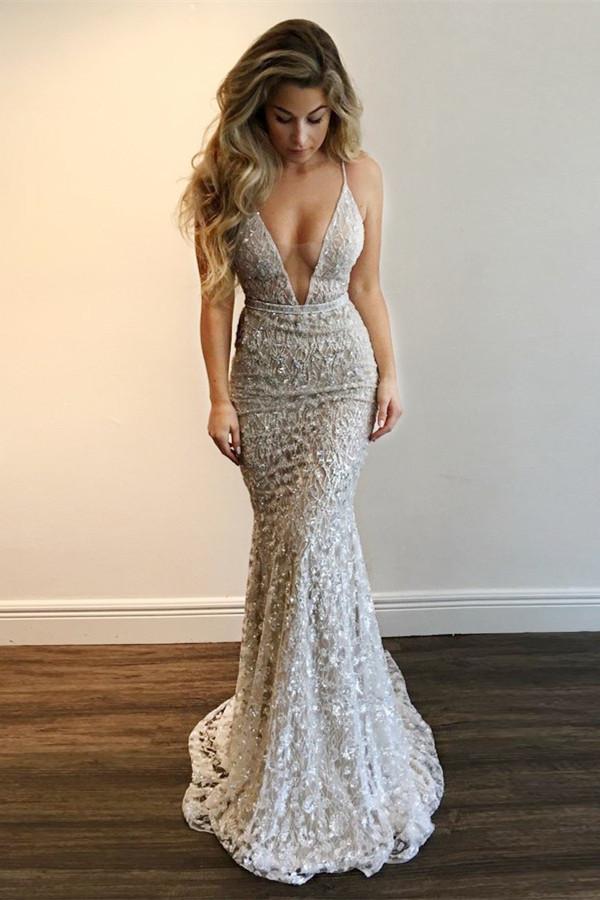 Precioso vestido de fiesta con cuello en V | Lace Mermaid vestidos de noche BA9393