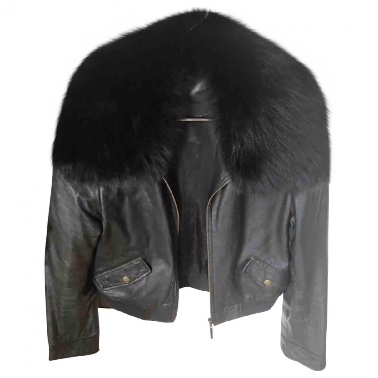 Les Petites - Veste   pour femme en cuir - noir