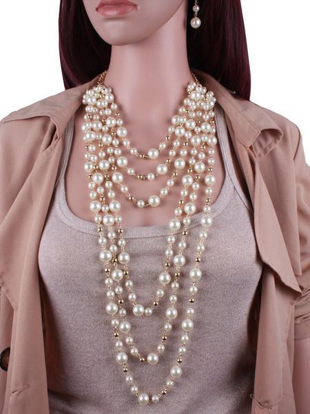 Milanoo Jewelry Sets Ecru White Pearl Imitation Pearl Pierced 2-Piece Geometric Jewelry Set