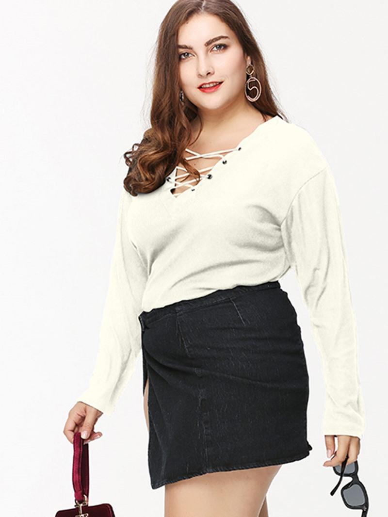 Ericdress Lace-Up V-Neck Slim Plus Size T-Shirt