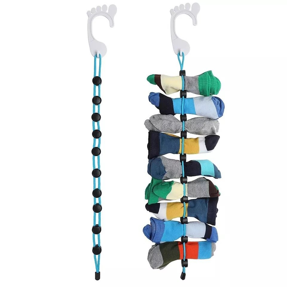 Sock Storage Organizer ABS Material Foldable Hook Socks Cleaning Aid