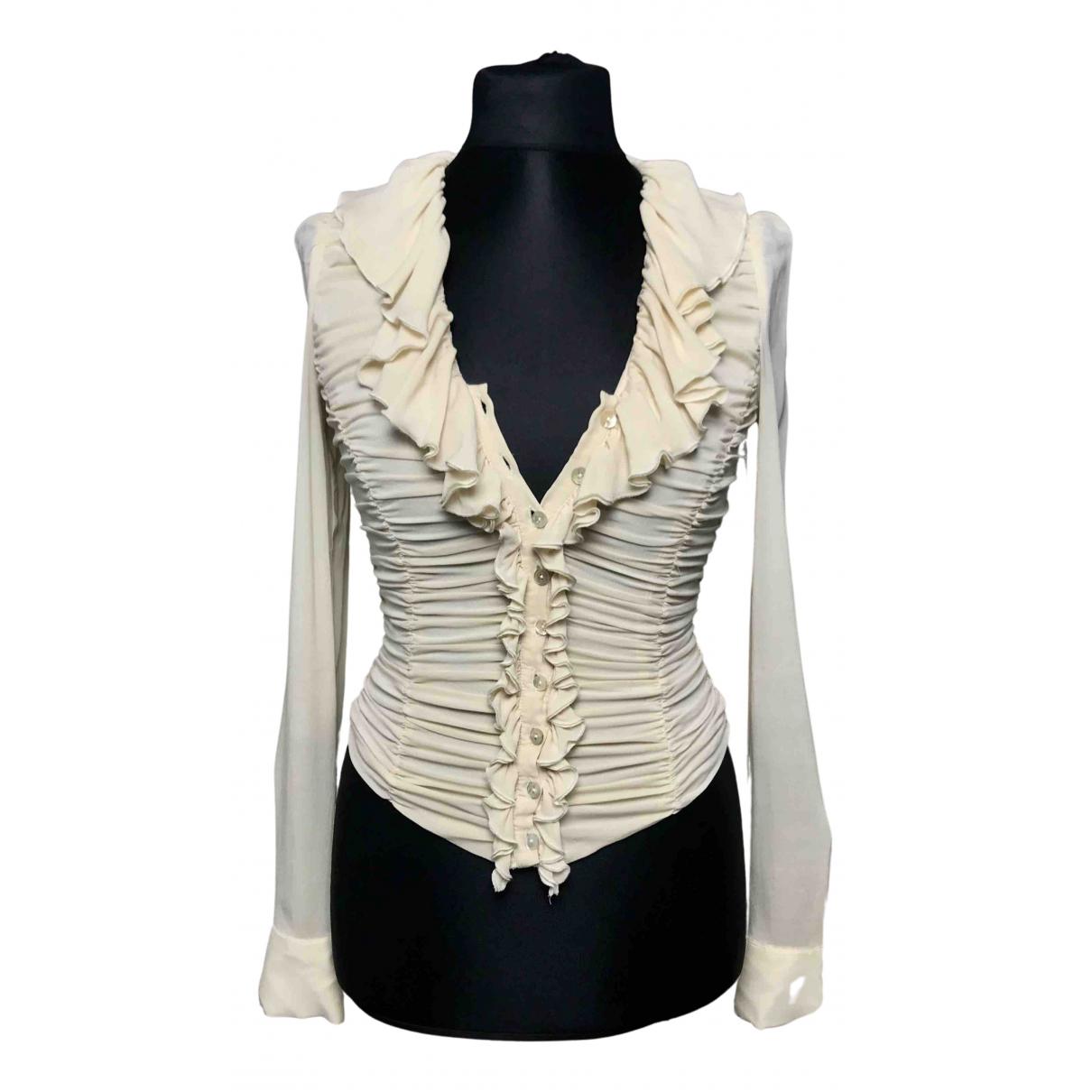 Just Cavalli N Ecru Silk  top for Women 42 IT