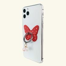 Anillo de celular en forma de mariposa con diamante de imitacion