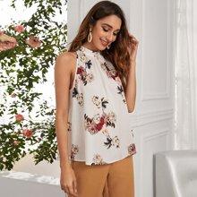 Ärmellose Bluse mit Schluesselloch hinten und Blumen Muster