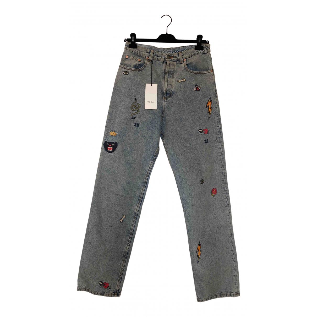 Gucci - Jean   pour femme en coton - bleu