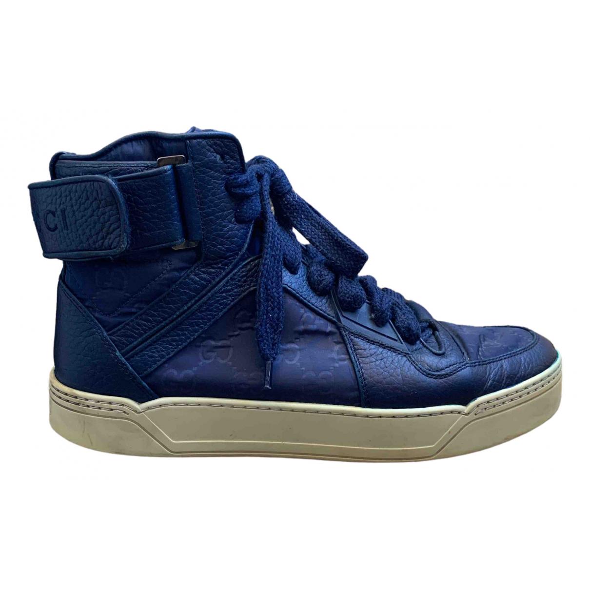Gucci - Baskets   pour homme en cuir - bleu