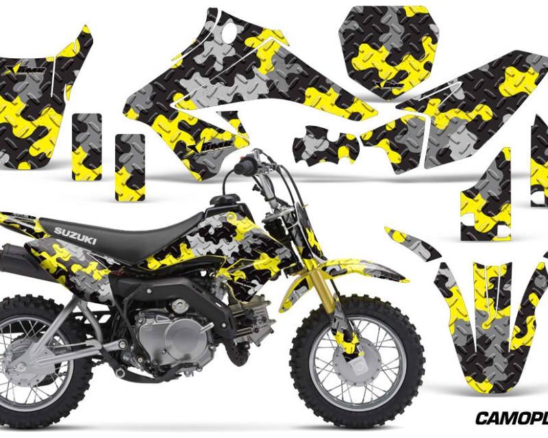AMR Racing Dirt Bike Graphics Kit Decal Sticker Wrap For Suzuki DRZ70 2008-2016áCAMOPLATE YELLOW