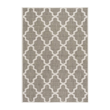 nuLoom Machine Made Gina Outdoor Moroccan Trellis Rug, One Size , Brown