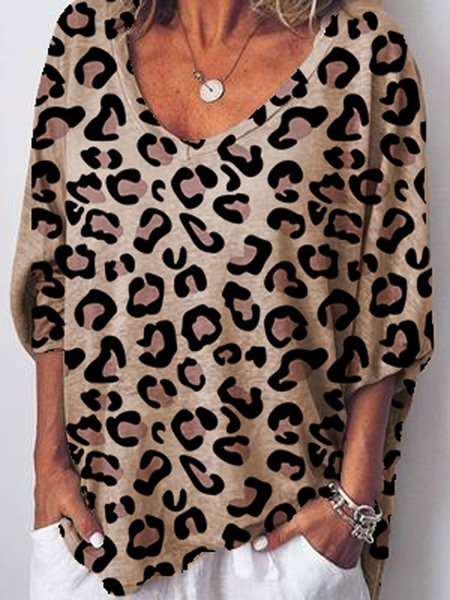 Yoins Khaki Leopard V-neck Short Sleeves Blouse