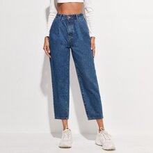 Crop Jeans mit hoher Taille und Falten
