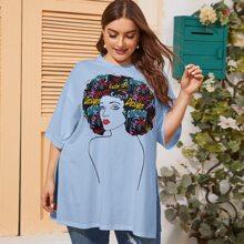Camiseta con estampado de figura bajo con abertura de hombros caidos