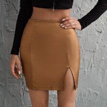 Zipper Side Split Hem Skirt