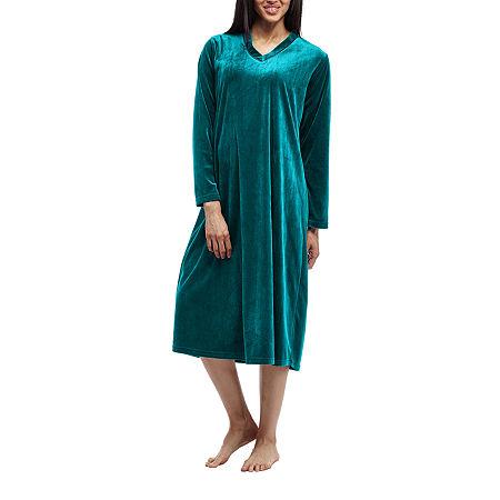 La Cera Womens Knit Nightgown Long Sleeve V Neck, Medium , Green