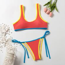 Contrast Binding Tie Side Bikini Swimsuit