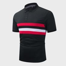 Men Striped Print Half Placket Polo Shirt