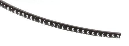 HellermannTyton Helagrip Slide On Cable Marker, Pre-printed 0 White on Black 2 → 5mm Dia. Range