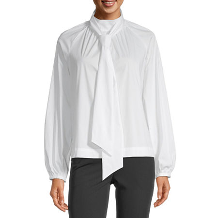 Liz Claiborne Womens Mock Neck Long Sleeve Blouse, X-large , White