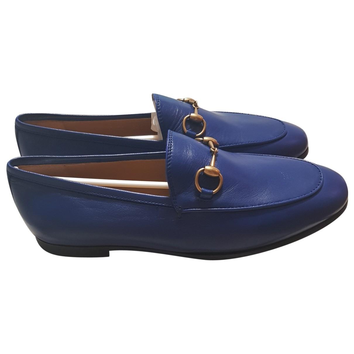 Gucci Jordaan Blue Leather Flats for Women 36 EU
