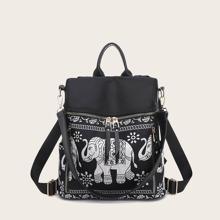 Ethnic Elephant Print Backpack