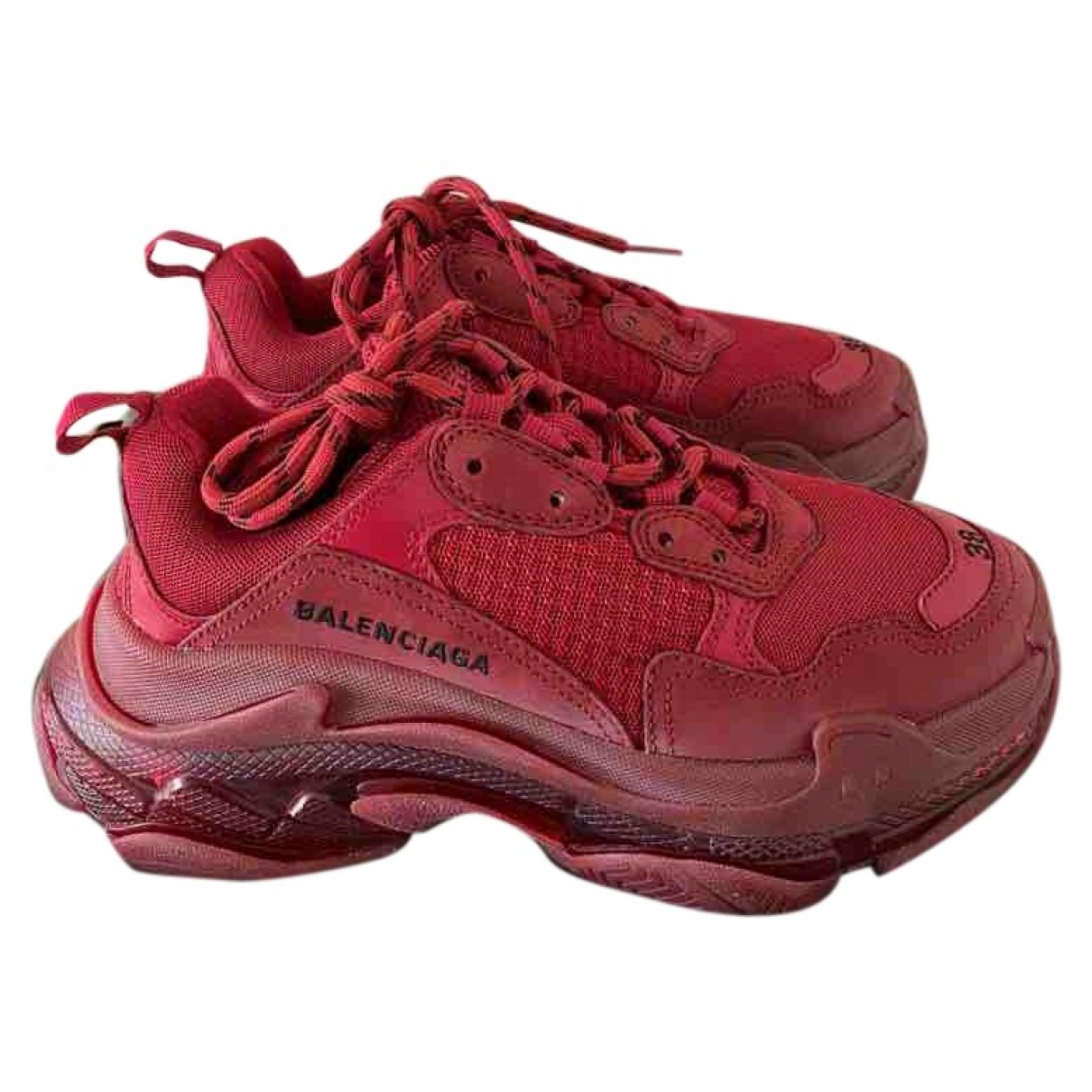 Balenciaga Triple S Burgundy Cloth Trainers for Women 38 EU