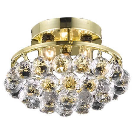 Somette Gold Three-Light Chandelier with Crystal Drops (Gold Chandelier)