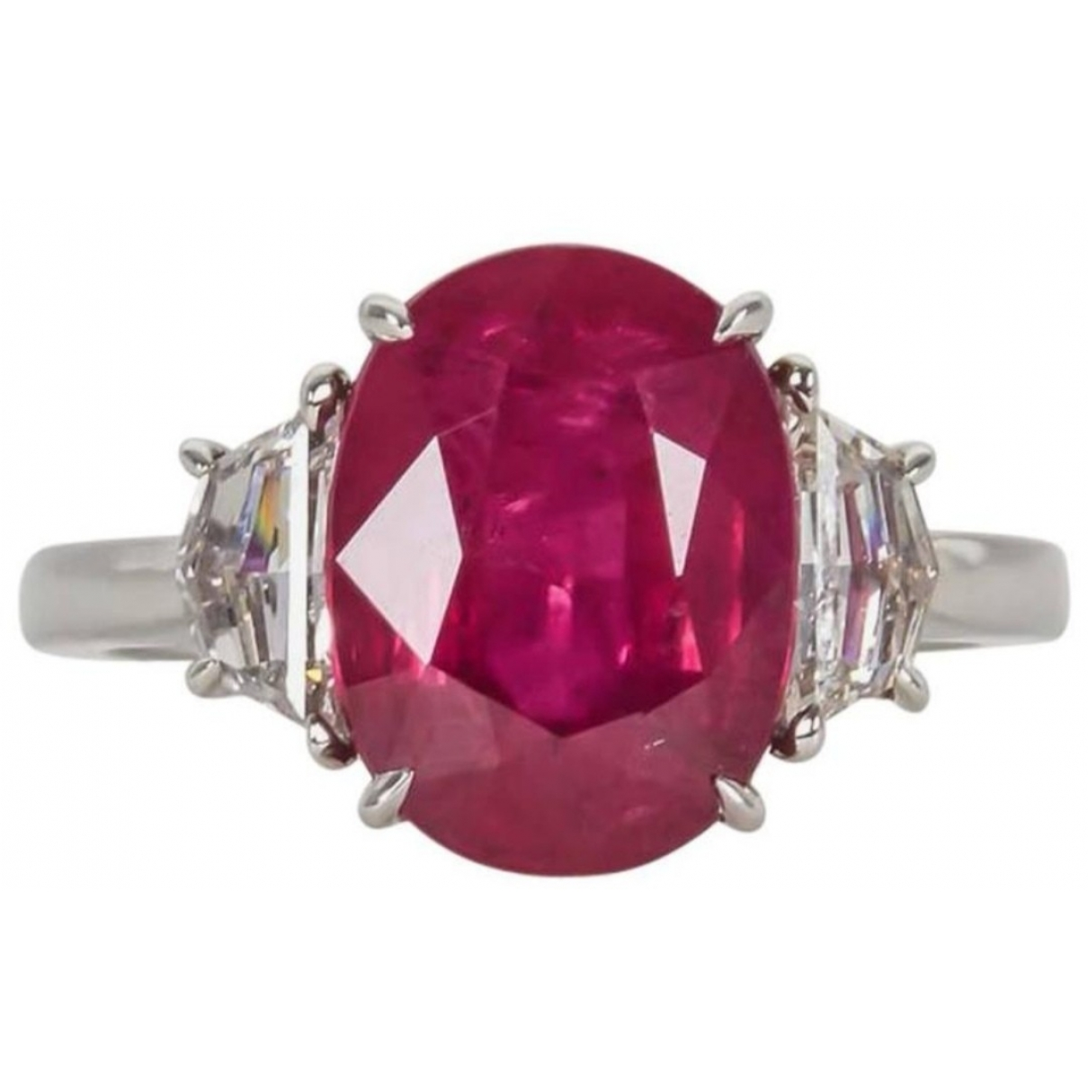 Non Signe / Unsigned Rubis Ring in  Rot Weissgold