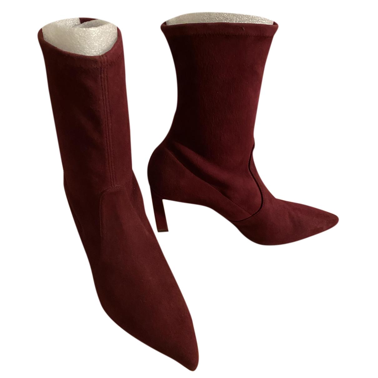 Stuart Weitzman N Burgundy Suede Boots for Women 9 US