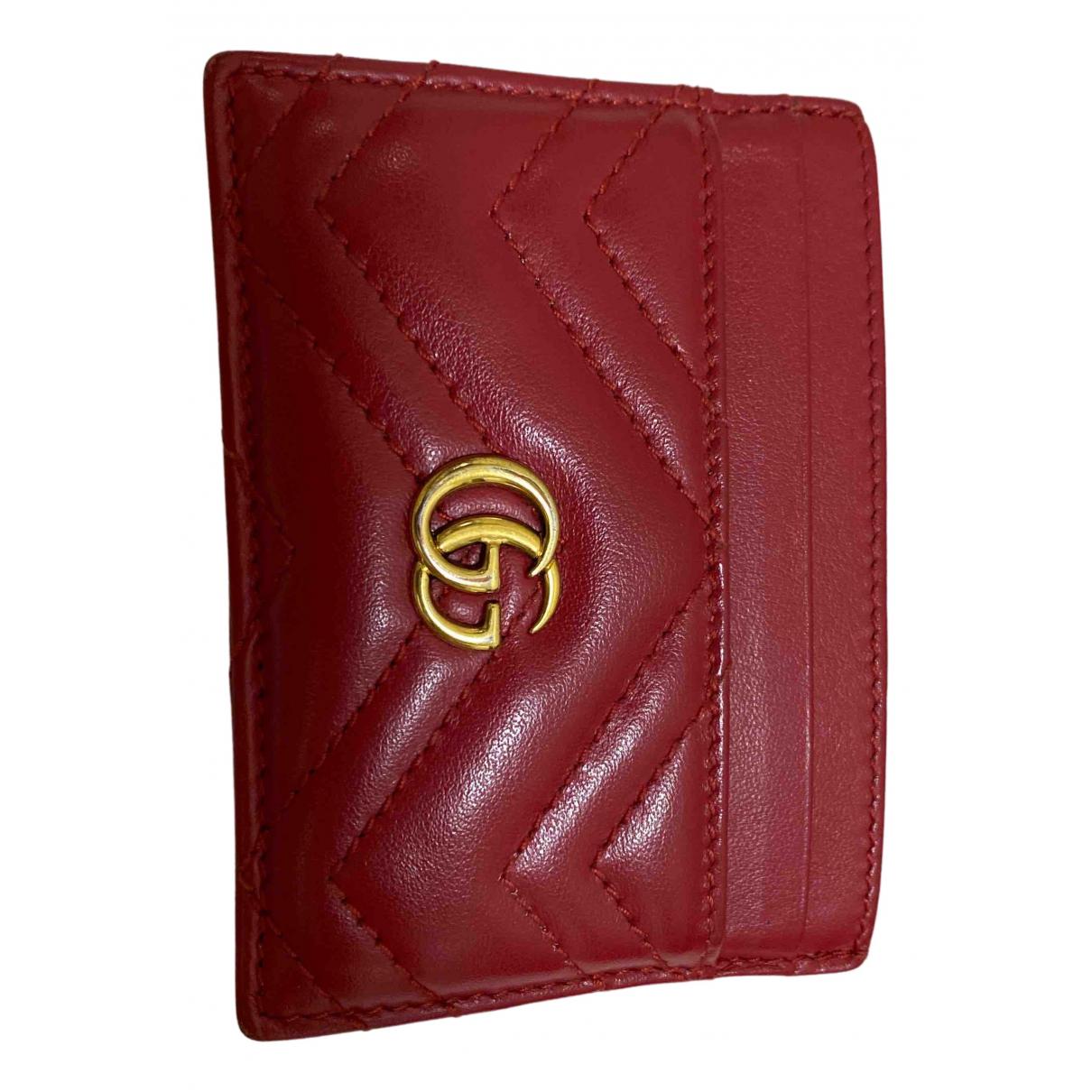 Gucci - Petite maroquinerie Marmont pour femme en cuir - rouge
