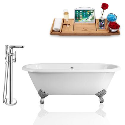 RH5501CH-CH-120  66'' Clawfoot Tub  Faucet  and Tray