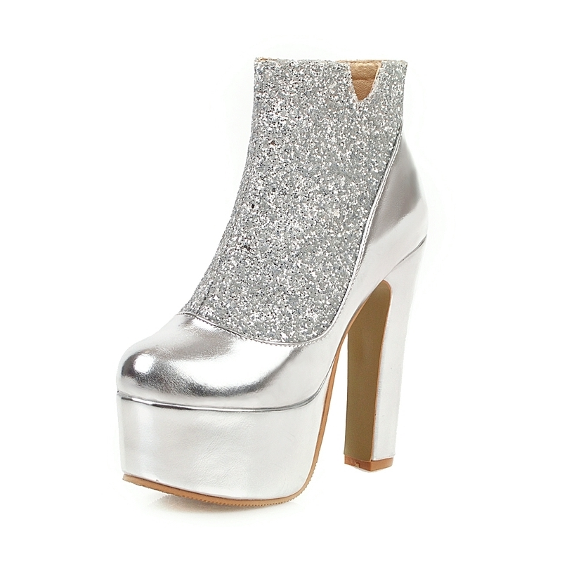 Ericdress Sequin Chunky Heel Patchwork Side Zipper Women's Sexy Boots