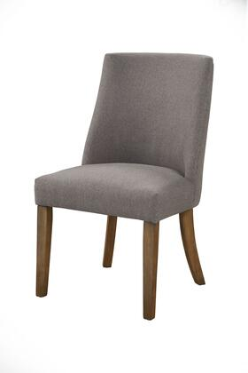 BM196025 Fabric Upholstered Wooden Side Chairs With Curved Backrest  Set of Two  Gray and