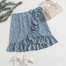 Ditsy Floral Ruffle Hem Wrap Knot Skirt