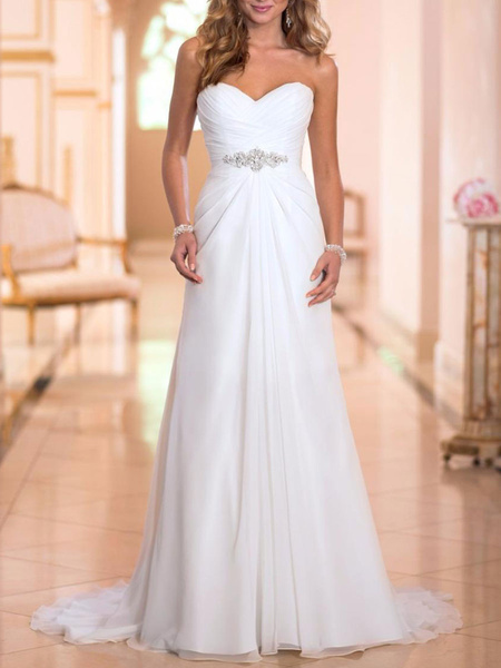 Milanoo Simple Wedding Dress Sheath Sweetheart Neck Sleeveless Pleated Bridal Dresses With Train
