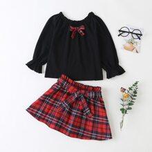 Toddler Girls Bow Front Flounce Sleeve Top & Belted Tartan Skirt