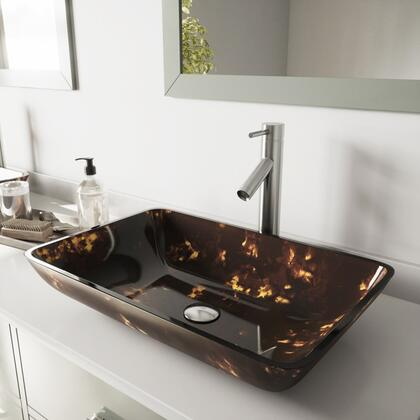 VGT475 Rectangular Brown And Gold Fusion Glass Vessel Bathroom Sink Set With Dior Vessel Faucet in Brushed