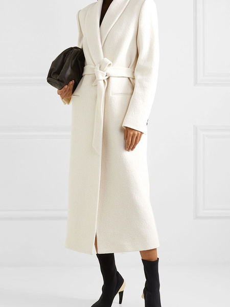 Milanoo Woolen Coat Turndown Collar Lace Up Casual Oversized White Outerwear For Woman