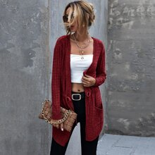 Dual Pocket Drawstring Waist Cardigan